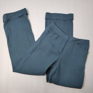 NWT J. Jill 100% Linen Blue Trouser Pant size 2